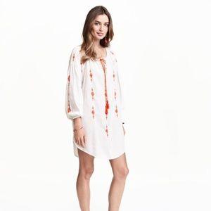 H&M Embroidered White & Orange Boho Tunic Dress 8